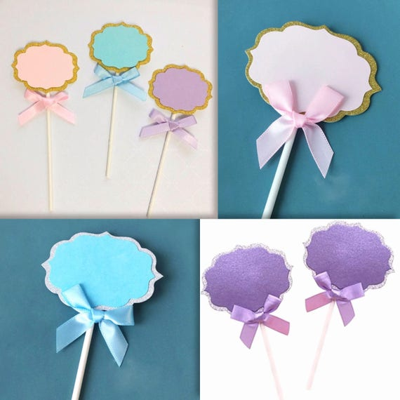 Blank Label Cake Toppers In Pink Purple Blue And Ribbon