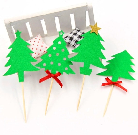 5//10x Merry Christmas Glitter Cake Topper Paper Xmas Party Cupcake Picks A+