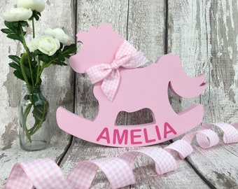Personalised Baby Gift - Rocking Horse - New Baby Girl Gift - Baby Girl Gift - New Baby Gift - Baby Shower Gift - Christening Gift