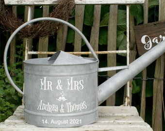 Money gift for the wedding - Watering can metal Mr. & Mrs. - zinc