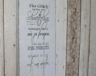 Sign Wood Shabby Chic The happiness is like a...
