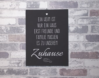 Saying on Canvas Board A home is only ... 24 x 18 cm