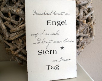 """Shield Wood """"Sometimes an angel comes..."""" Shabby Chic"""