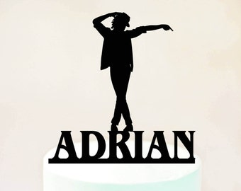 Dancer Silhouette Cake TopperMichael Jackson TopperPersonalized TopperDancer Partybirthday Topper 1099