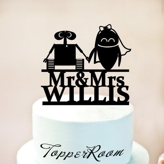 Wall E And Eva Wedding Cake TopperWall