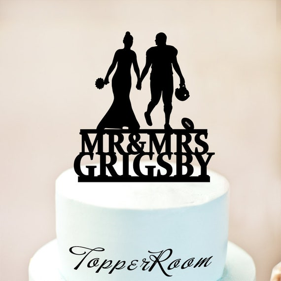 American Football Cake Topperwedding Cake Topperamerican Football Weddingwedding Bride And Groom Coupleamerican Football Party 1206