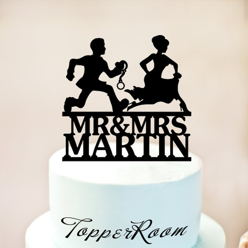 Personalized Wedding Cake Topper Funny, Mr and Mrs Bride and groom  silhouette with custom name,Handcuffs Wedding Cake Topper (1204)