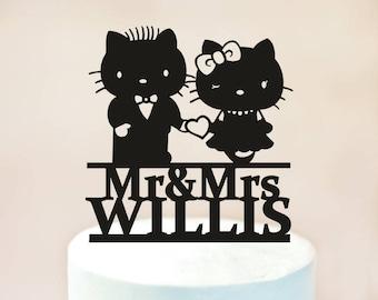 Hello Kitty cake topper,Wedding Cake Topper,Silhouette Cake Topper,custom cake topper,Bride and Groom Cake Topper (1135)