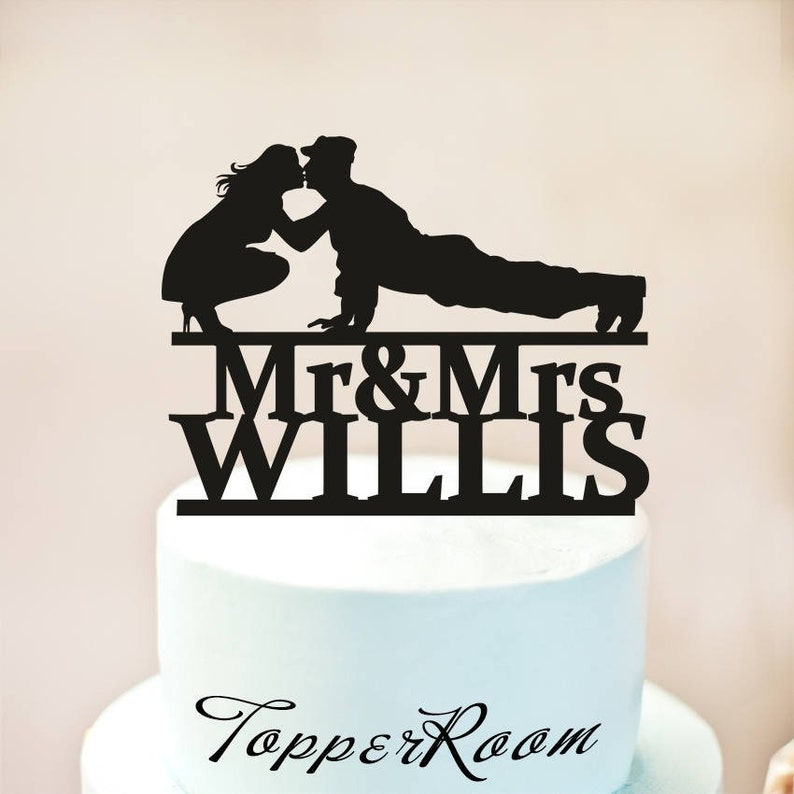 Wedding Cake TopperMilitary Wedding Cake TopperSilhouette image 0