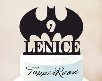 Batman cake topper,Batman birthday cake topper,Batman party,Batman with Name + Age,cake topper with Name + Age,Superhero Cake Topper (1010)