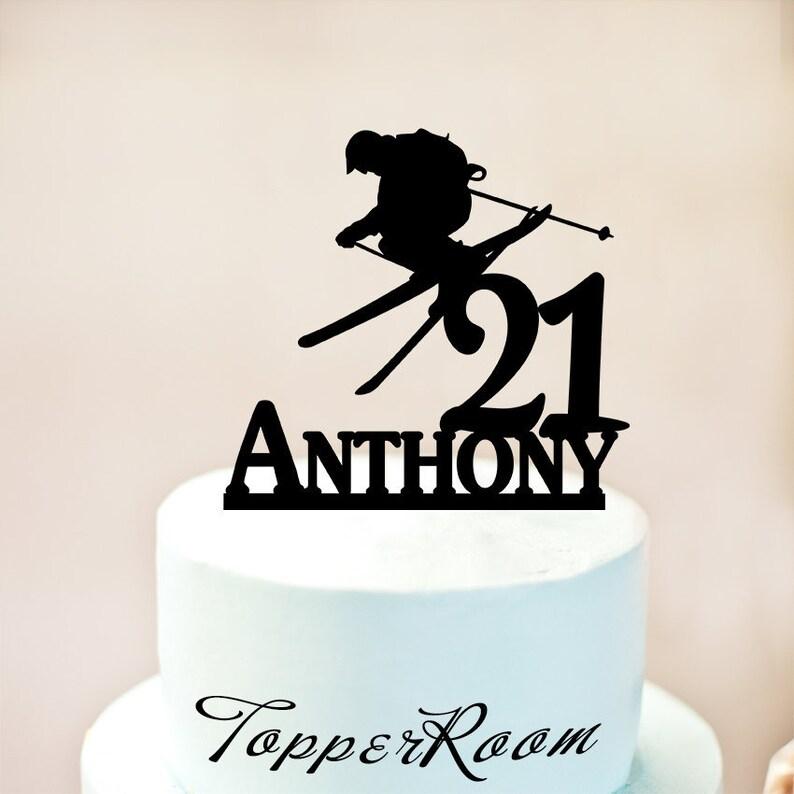 Birthday Cake TopperMan Skiing Ski NAME TopperCustom TopperHappy BirthdayPersonalised With Your Namewood Topper 1224