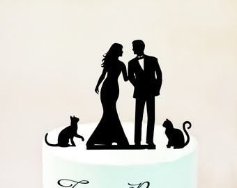 Wedding Cake topper with cats,silhouette cake topper with two cats,cats cake topper,silhouette cake topper with cats,cake topper cats (1069)