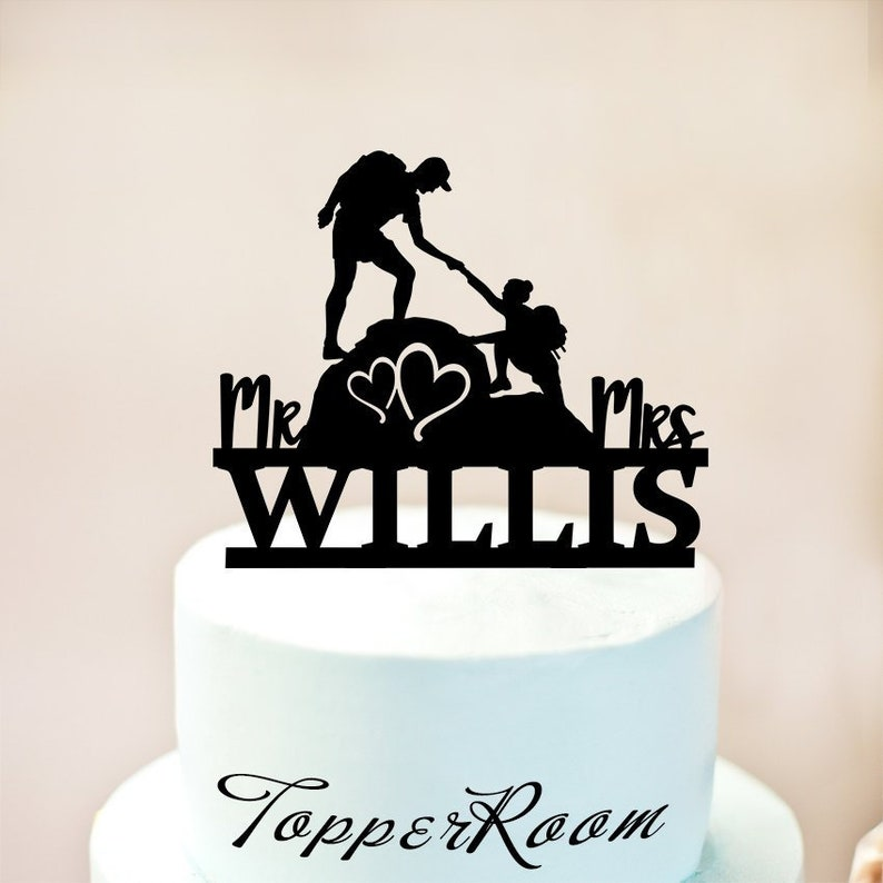 Hiking topper climbing mountain wedding cake topper,Bride and Groom outdoor  wedding,Mr and Mrs cake topper,cake topper witn custom name 1237