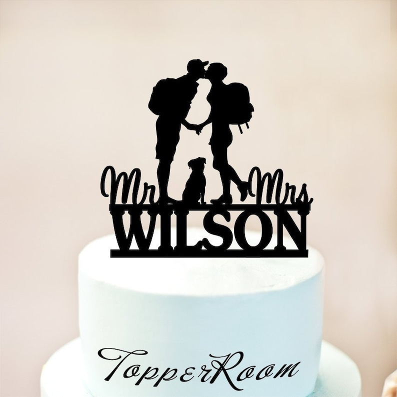 5c51fc0c896 Hiking Couple cake topper Backpacking Bride and Groom outdoor