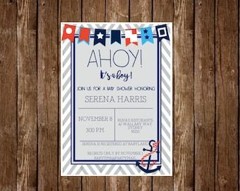 Baby Shower Invitation Boy Nautical Theme