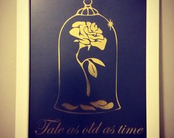 """Ready to frame Disney inspired Enchanted Rose from Beauty and the Beast """"Tale as old as time"""" foil print"""