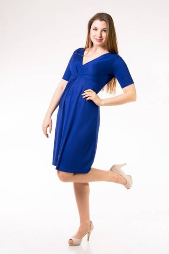 V-Neck Plus Size Dress - Blue Dress - Plus Size Dress - Midi Dress - Knee  Length Dress - Oversize Clothes - Curve Fashion - Plus Sizes
