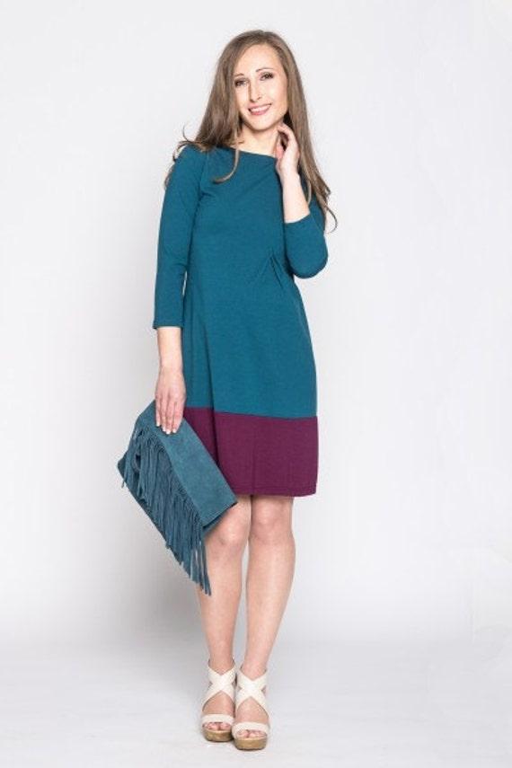Color-block Maternity dress - Plus Size Dress - Midi Dress - Knee Length  Dress - Sizes up to 8XL/EU 56