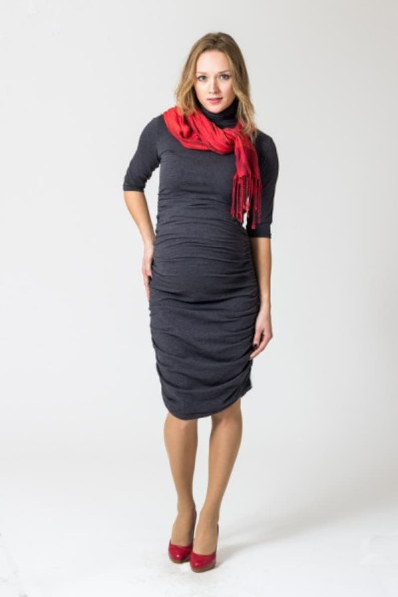 dfd2849cae7 Ruched black or charcoal grey maternity dress Plus Size