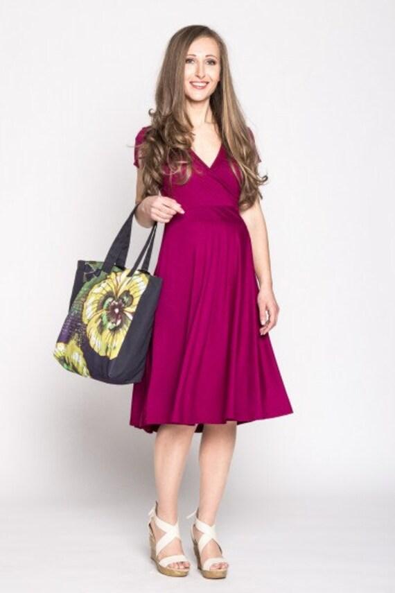 b158e4a7213 Maternity dress Nursing wrap dress Raspberry plus size dress