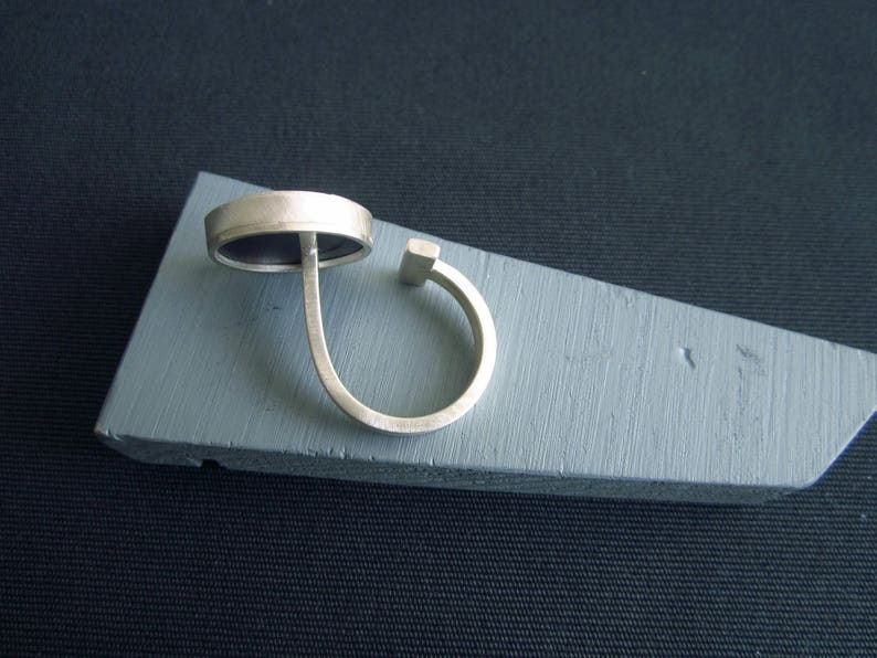 Broken mirror repaired with Kintsugi set in recycled silver Recovery to a T double ring