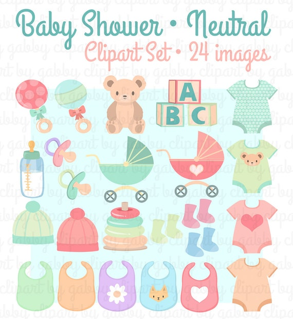 Neutral Baby Shower Clipart Clip Art Etsy