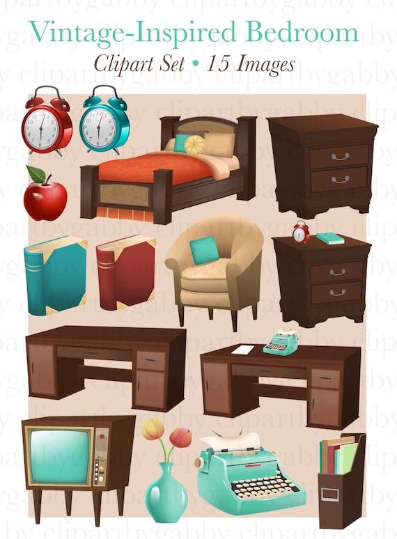 Vintage Inspirierten Schlafzimmer Clipart Clipart Etsy