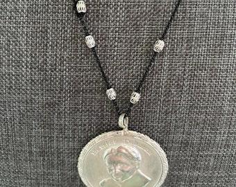 Harriet Tubman White Silver Medallion Necklace