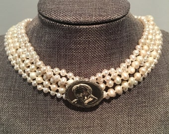 Harriet Tubman 5 Strand Pearl & Sterling Silver Brooch Necklace