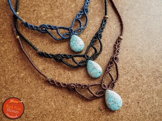 Macrame Handmade String Covering Pendant. Turquoise Pendant