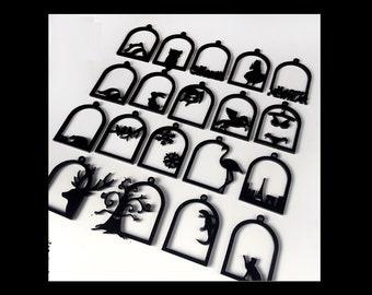 Acrylic open bezel | Open back bezel | Rabbit open bezel | Christmas open bezel | Acrylic charm | UV resin charm | UV resin open back bezel