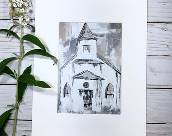 Old White Country Church Painting Print Matted Paper 5x7 Up To 16x20