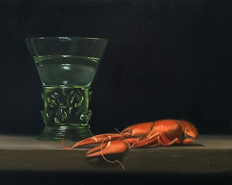 Still Life Oil Painting, 8 x 10, Berkemeyer Glass and Crayfish
