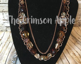 Fall brown beads with 2 copper chains necklace
