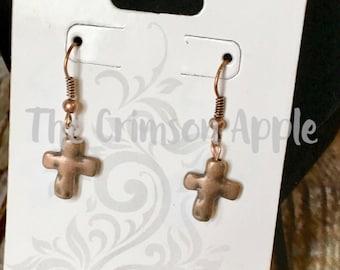 Dainty Copper Cross earrings