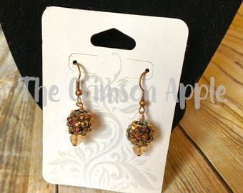 Copper Crystal beaded earrings