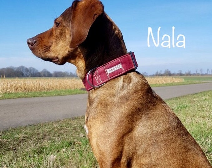 Dog collar for large dogs, 4 cm wide, circumference also to measure, Burgundy or nature, adjustable, vegan 49.00 euros