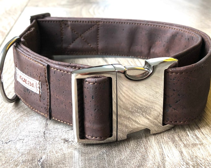Dog collar for large dogs, 4 cm wide, brown collar, size also on measure, adjustable, vegan, 1 collar 49.00 Euro