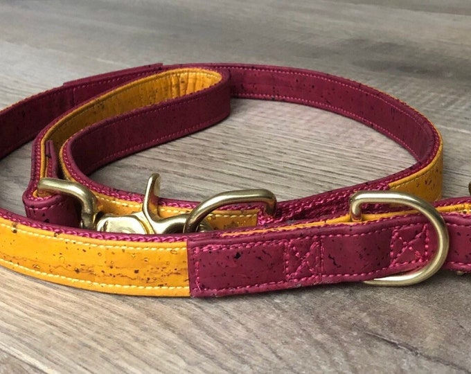 Refined dog leash ------ Burgundy / Nature ------- 1 M - 2.20 M long, 1.5 cm wide, 3 adjustable, many colors