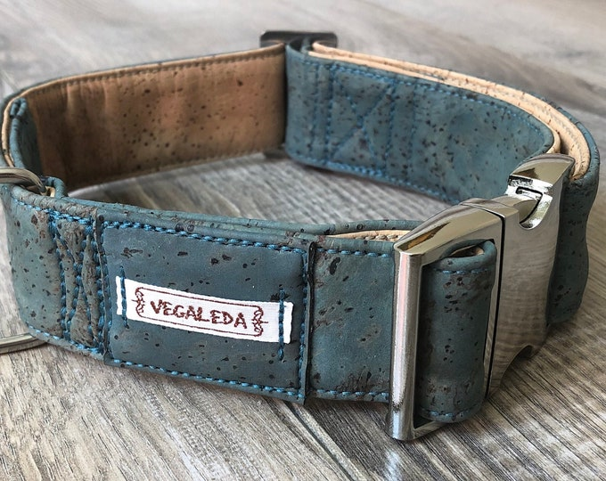 Dog collar for large dogs, 4 cm wide, size also on measure, Mississippi Green/natural, adjustable, vegan 49.00 euro