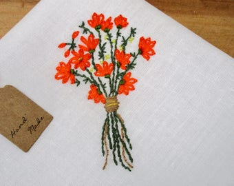 Tropical bouquet hand embroidery wedding handkerchief orange flowers green foliage gift for bride daughter colorful hankie embroidered art