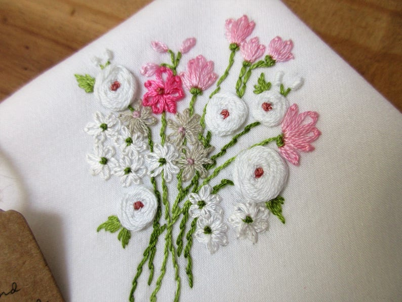 Embroidered wedding bouquet handkerchief hand embroidery pink white rose baby breath flowers elegant mother of the bride groom maid of honor