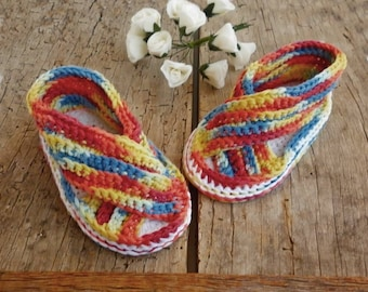 Cotton baby sandals, organic cotton booties, newborn girl sandals, colorful sandals, knitted baby clothes, unique baby shoes