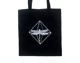 Dragonfly Tote Bag, Cotton tote bag, cotton bag, dragonfly bag, dragonfly tote bag, Black tote bag, fair trade