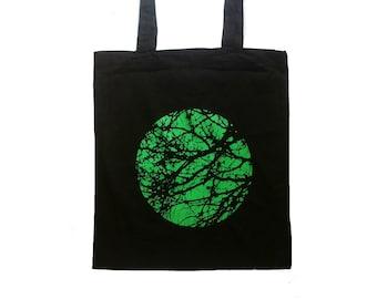 screen printed tote bag, shopping bag, cotton tote, tree bag, tree, nature