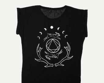 Hare and Moon Phases Screen Printed Shirt, Pagan Shirt