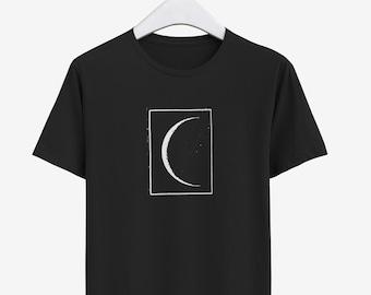 Crescent Moon Shirt for Men, Screen Print Shirt, Organic Cotton Graphic Tee