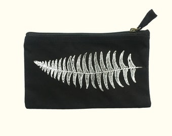 Screen Printed Pencil Case, Fern Zipper Pouch Bag, Canvas Pouch