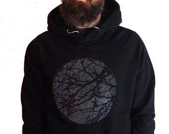 f122e23f942881 Herren Siebdruck Sweatshirt mit Kapuze - Baum-Sweatshirt - Baum Hoodie -  Bio-Baumwolle Hoodie - Sweatshirt mit Kapuze