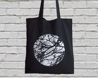 Black Tote Bag, Screen Printed Canvas Tote Bag, Market Bag, Minimalist, Black and White, Eco Friendly, Tree,  Nature